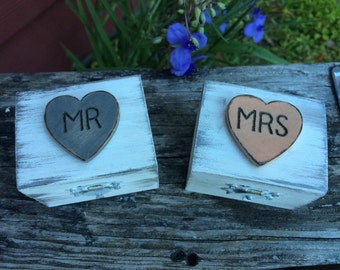 MR & MRS Ring Bearer Boxes Country Rustic Chic Wedding