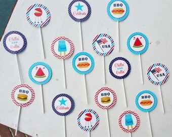 50% OFF SALE - Memorial Day Cupcake Toppers and Wrappers Printable - Party Circles -  Red, White and Blue BBQ Collection