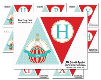 "Hot Air Balloon Birthday Banner Printable - ""Happy Birthday"" Banner - Vintage Hot Air Balloon Collection"