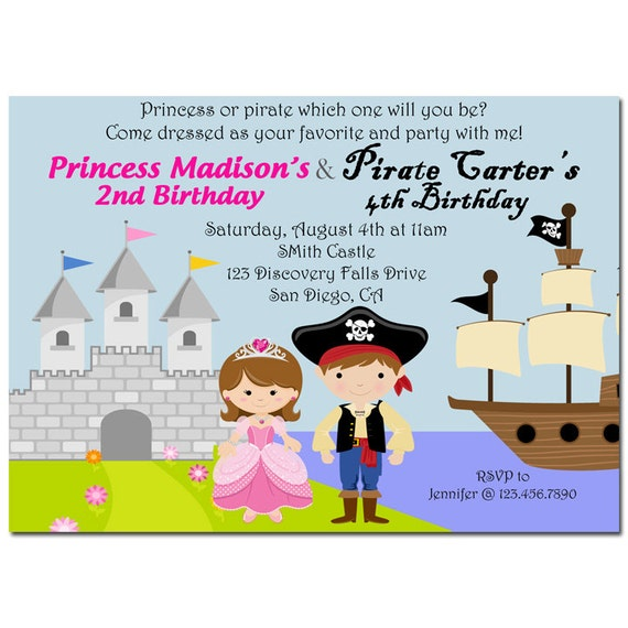 Pirate and Princess Invitation Printable or Printed with FREE SHIPPING - You Pick Hair Style/Color and Skin Tone