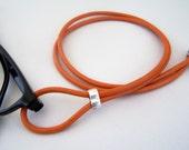 Leather Lanyard for Glasses Eyeglass Loop Orange 3mm Cord Eyeglass Holder, Eyeglass Necklace, Eyeglass Chain, 28-36 inchs,