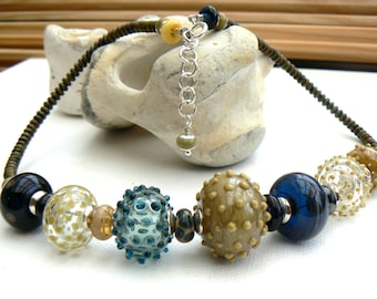 Hollow bead necklace in blue and mustard,Lampwork and sterling silver necklace,OOAK