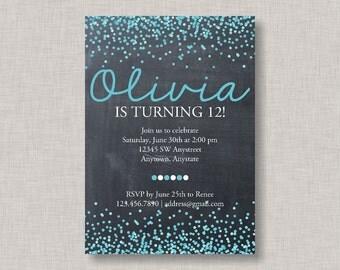 Confetti Birthday Invitation, Confetti Invitation, Chalkboard Birthday Invitation, Teen Birthday Invitation, Tween Birthday Invitation