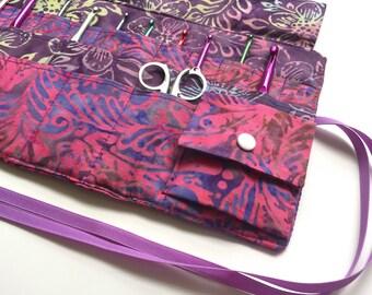 Crochet Needle Case with Pocket/Roll/Organizer in 100% Batik Cotton
