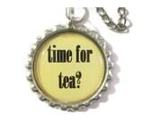 Tea Infuser with Handmade bottlecap Charm - 2 Inch Mesh Tea Ball - time for tea?