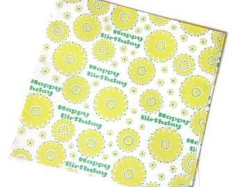 Vintage Wrapping Paper - Lemon Flower Happy Birthday - One Full Sheet
