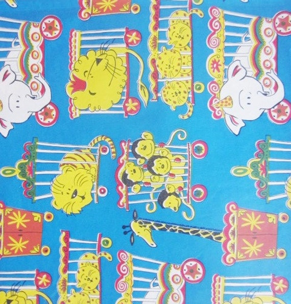 Vintage Wrapping Paper Circus Animals Gift Wrap One