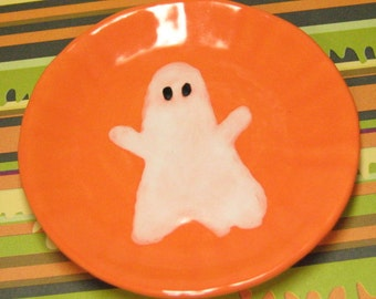 CLEARANCE Halloween miniature dish ghost 2.75 inch plate 69mm for your 18 inch doll or American girl party favor ceramic mini