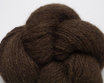 Seal Brown 70 % Alpaca 30 Wool Blend Sport to Fingering Weight Recycled Yarn