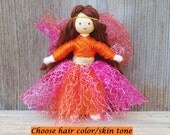 Autumn Fairy Doll -  Fall Fairy - Orange - Pink - Waldorf Fairy - Bendy Doll - Flower Fairy - Brown Hair - Pumpkin Doll