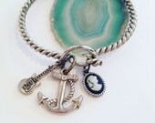 Anchor Bracelet with Guitar and Cameo