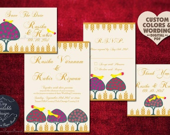 Moghul Indian Wedding Invitation Set LOVEBIRDS & TREES DIY Printable Custom Design Pdf Template Save The Date Card Sikh Hindu Muslim Royal