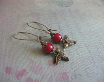 Coral and Hummingbird Earrings - Natural Coral, Bronze hummingbird Earrings - Vintage Inspired