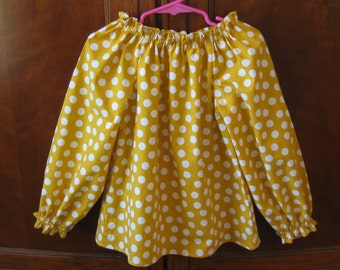 Clearance Girls Peasant Top - Mustard Yellow, Polka Dot - Long Sleeve - Size 3 to 4 Years, 4T - Ready to Ship