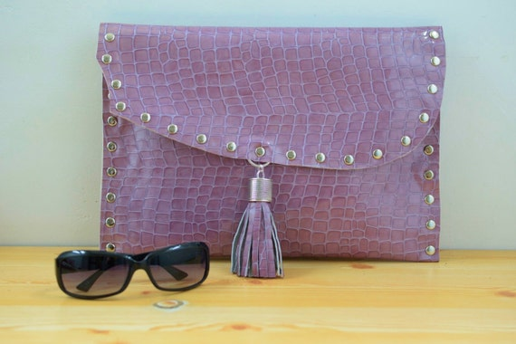Alligator purse,alligator clutch,crocodile clutch,womens handbag,leather bag,alligator leather,pink clutch,patent leather,alligator print
