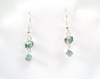 Crystal Cube Earrings in Translucent Aqua