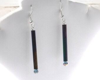 Avant Garde Earrings Purple Glass Bars