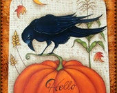 Hello Autumn! Fabulous Fall design with Pumpkin, Crow, etc... Designed & Painted by Sharon Bond - FAAP