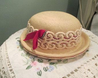 1950s Women Hat / Off White Straw Pillbox Hat Red Bow Rhinestone / Lecie Hat
