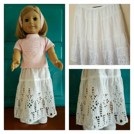 18 Inch American Handmade Repurposed Eyelet Maxie Skirt American Made 18 Inch Doll Clothes