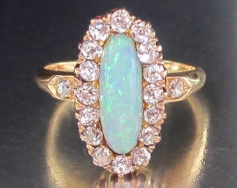 Antique Victorian Blue Opal and Old Mine Diamond Halo Engagement Ring 18K