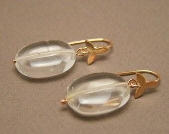 14kt Rose Gold and Rock Crystal Selene Earrings // Pools of Light Pink Gold Earrings