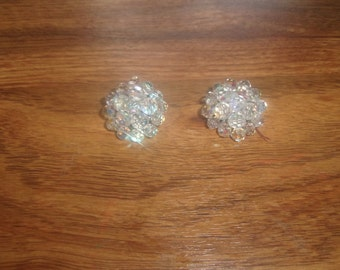vintage clip on earrings aurora borealis glass bead clusters