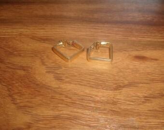 vintage clip on earrings goldtone square hoops
