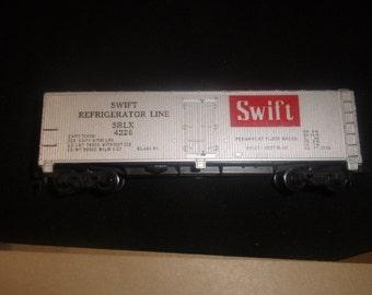 vintage ho toy train car swift refrigerator line railroad setup