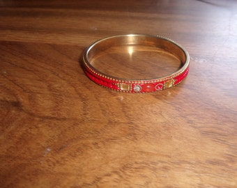vintage bracelet bangle red enamel rhinestones