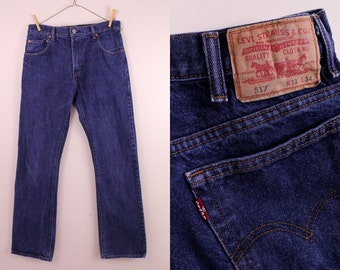 Vintage  - Dark Indigo Wash - Levis 517 - Blue Jeans Denim Pants - High Waist - 33 X 34