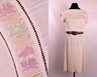 Vintage 1940s 40s - Ivory Cream Rayon - Handpainted Floral - Crocheted See Through - Cap Sleeve Short Midi Day Dress