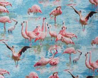 Flamingo Fabric,  Flamingo Dance, Tropical Birds, Florida Birds,  By the Yard, Elizabeths Studio