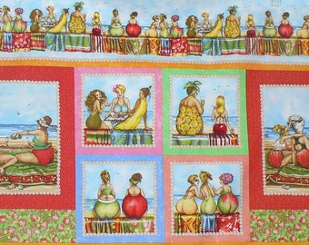 Fruit Ladies Fabric, Fruit Bottom Ladies, Fruit Ladies Panel, By the Panel, Elizabeths Studio
