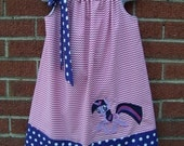 Twilight Sparkle My Little Pony Pillowcase Dress MLP Hot Pink Mini Chevron and Purple with White Polka Dots Made to Order Size 2T to 14