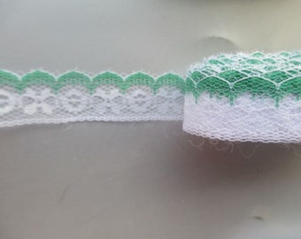 "Lace-white and green-20mm-7/8""-3 YDS"