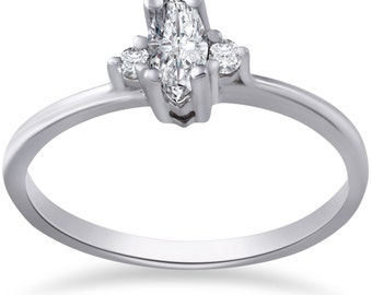 Marquise Diamond Engagement Ring 10k White Gold 1/3 Marquise Diamond Engagement Ring 10k White Gold