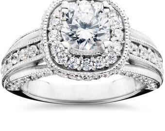 1.25CT Cushion Halo (3/4Ct Center) Diamond Engagement Ring 14k White Gold G-H/I