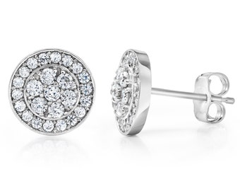 3/4CT Pave Diamond Halo Studs 14K White Gold