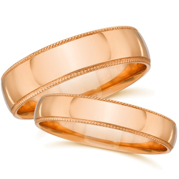 Rose Gold Wedding Bands Matching Rose Gold Rings His Hers