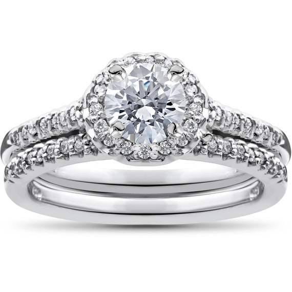 3/4ct Diamond Halo Wedding Engagement Ring Set 10K White Gold