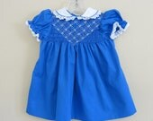 Baby Royal Blue Smocked Dress 24 Months Hand Smocked Polly Flinders 287a