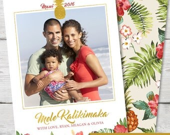 Christmas Photo Card, Tropical Holiday Photo Card, Mele Kalikimaka, PRINTABLE, DIGITAL, Hawaii Photo Card, Beach Photo Card, ID: PC15900
