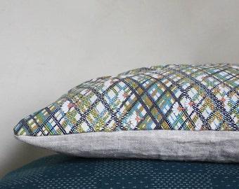 Colourful plaid. Decorative Pillow. Recycled Vintage Japanese Kimono.