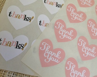 Thank You Heart Stickers Envelope Seals