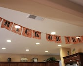 Halloween Trick or Treat Painted Stencil Burlap Banner