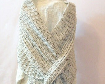 Crochet Shawl - Off White Tweed Keyhole Bulky Crochet Super Scarf - Slit Shoulder Wrap - Chunky Scarf