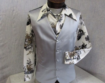 """90s 48"""" XL Satin Formal Polyester Vest Waistcoat Baronshire Silver Gray"""