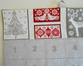 Christmas Advent Calendar/ READY To SHIP/ Reindeer and Christmas Tree  Red and Linen/ Christmas Countdown Calendar with Pockets in Scandi 2