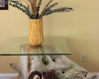 Cedar Stump Table with glass top